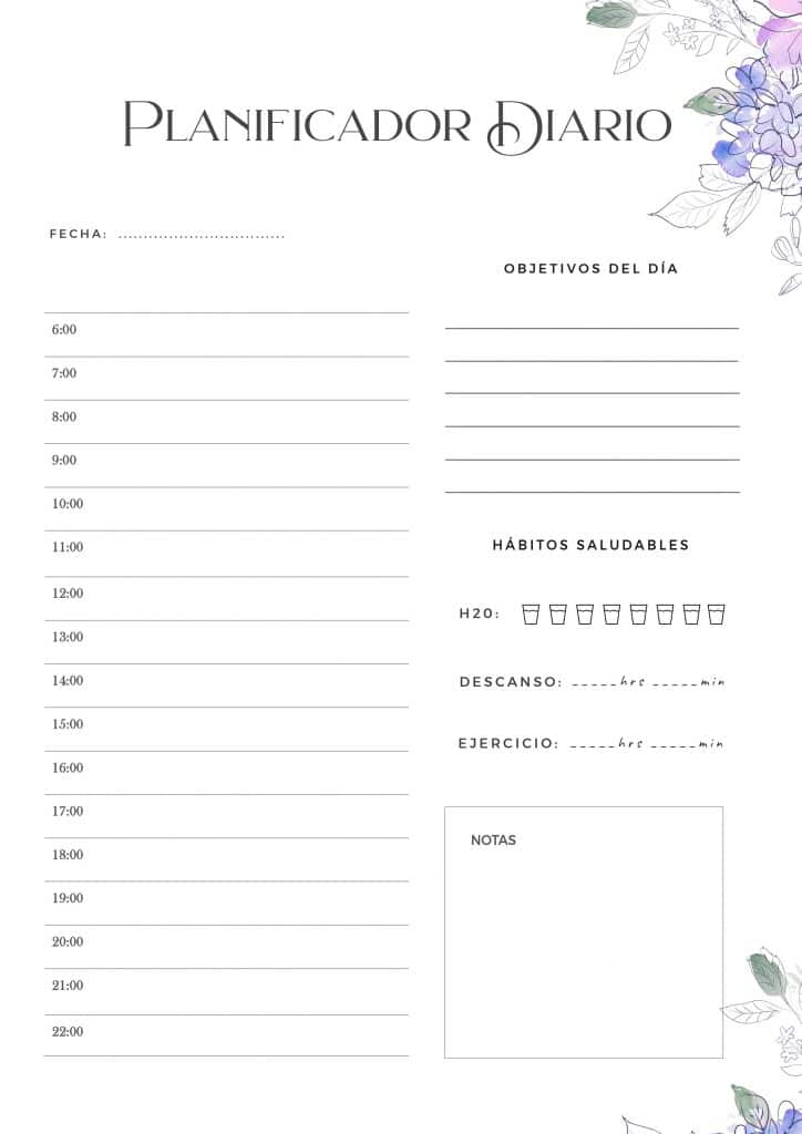 Ordena los planes diarios e imprimelo