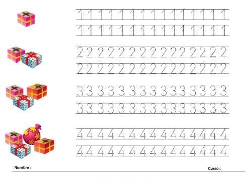 Ficha de los numeros 1 2 3 y 4 para imprimir