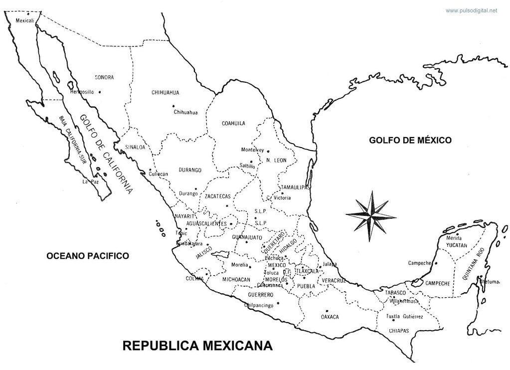 Mapa de la republica mexicana sin nombres para imprimir