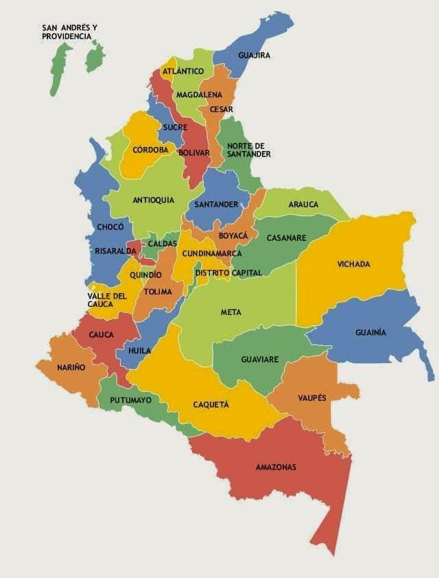 mapa de Colombia con nombres para imprimir