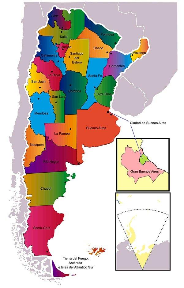 mapa político de Argentina para imprimir