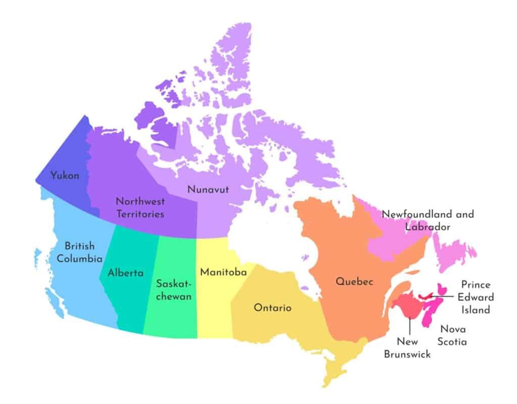 mapa de canada con nombres para imprimir