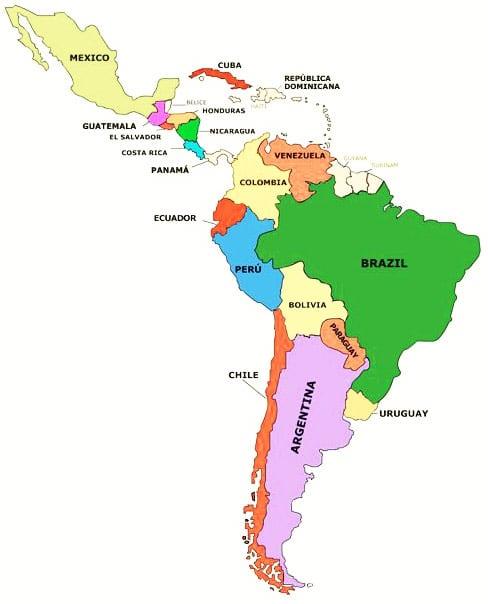 mapa del continente americano para imprimir